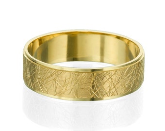 6mm Unique Pattern Hand Carved Wedding Band 14k Yellow Gold