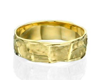 Scorched Style Unique 14k Yellow Gold Men's Wedding Band