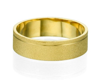 5.8mm Channel Sand Finish Comfortable Men's Ring 14k Yellow Gold