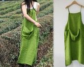 296-linen Pinafore / Work Apron Dress, Green Dress, Gray Dress, Linen Tunic, Plus Size Clothing, Women's Linen Maxi Dress, Maternity.