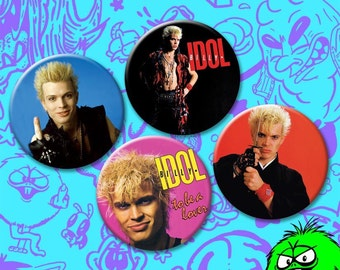 "MEDIUM Billy Idol Buttons (2.25"" Pins) [punk rock new wave generation x white wedding rebel yell katana samurai middle finger to be a lover]"