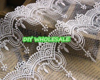 White embroidered cotton LaceTrim / DIY garments Lace Bridal, Floral,Sewing,Fabric 22cm wide