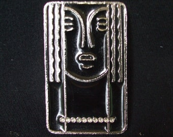 Vintage Ritz Pewter Brooch Pendant, Art Deco Lady Face Pin , Modern Art Jewelry