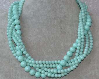 baby blue pearl necklace,5 strands light blue necklace,glass bead baby blue twist necklace,statement chunky necklace,bridesmaid jewelry