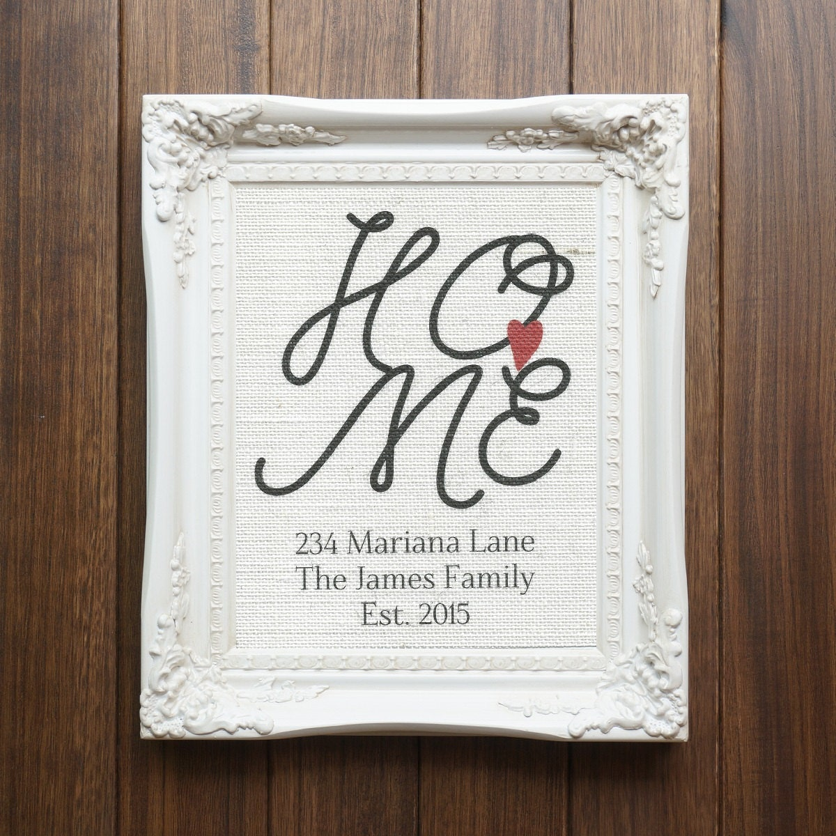 Personalized Home Address White Burlap Wall Hanging
