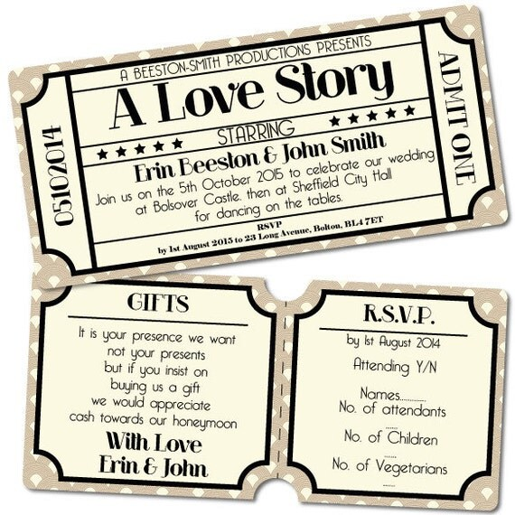 Vintage Retro Cinema Ticket Style Wedding Invitation RSVP