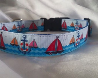 Handmade Dog Collar-Boats, Nautical, Anchors, Sea, Ocean