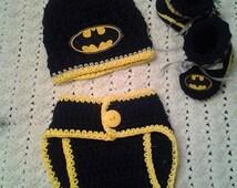batman inspired baby crochet set photography prop