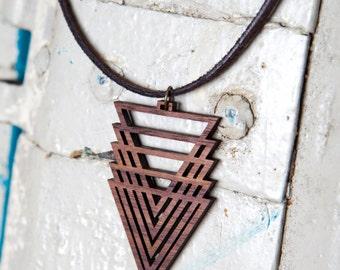 Triangle Cascade Wood Pendant