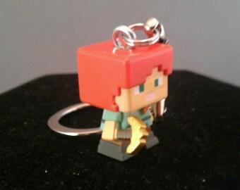 Minecraft Keychains / Minecraft Alex keychain / Minecraft gifts / Minecraft zipper pull / Minecraft Key chain / Minecraft party