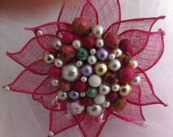 Hot Pink Bead and Sinamay Bouquet with Hand Painted Wooden Beads and Hand Sewn Pearl and Clear Flower Center Beads Small Upcycled Artificial