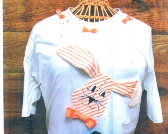 Flop Eared Rabbit applique pattern by Bee Hive #20314.  Embellish special girl's Tshirt/Sweatshirt/Purse with this ADORABLE Bunny!