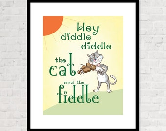 Nursery Print - Hey Diddle Diddle The Cat and The Fiddle  - Nursery or Childrens Bedroom Typography - Classic Nursery Rhyme