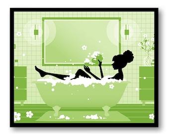 Lime Green Bathroom Print Decor Bathroom Silhouette Girl Bathtub Tub Bathroom Art Prints Wall Decor Modern