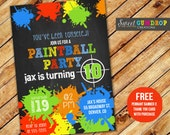 Paintball Birthday Invitation - Printable - FREE pennant banner and thank you card with purchase
