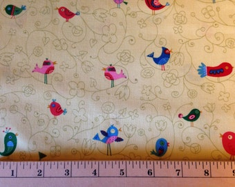 FOLK ART BIRDS by Linda Solovic - Fabric - Timeless Treasures fabric - Novelty - Swirls - Quilting - Sewing - Whimsical