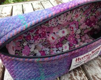 Harris Tweed, liberty of London, Lilac check,  makeup bag, pencil storage, accessory case