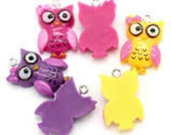 6 - Resin Owl Pendants