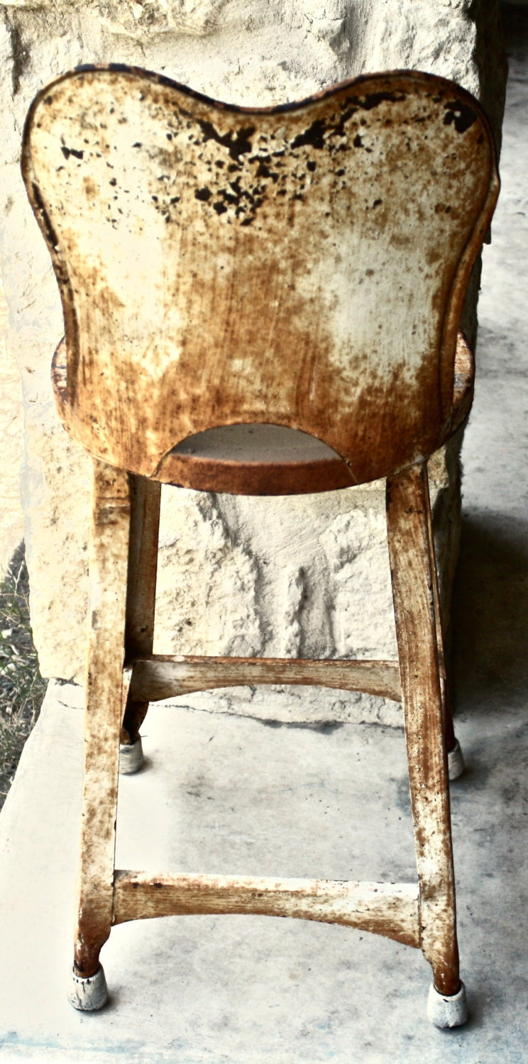 Vintage Metal High Back Stool Child S High By Yesterdazetoday