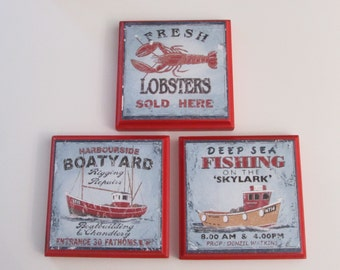 Beach House Decor Room Wall Plaques   Fisherman Boat Lobster Decor   Set Of  3 Beach