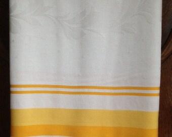Vintage white/yellow/orange tablecloth