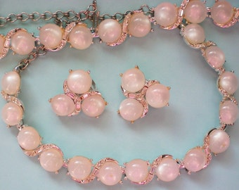 Moonglow Lucite Rhinestone Necklace, Bracelet & Earrings - 4018