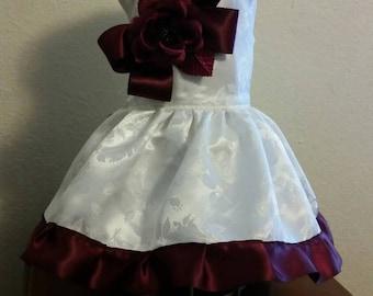 Special Occasion white/wine  Jacquard Brocade dog dress, Harness, tutu  Pet Apparel, Wedding, Flower girl, Pageant