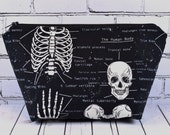 Glow in the Dark Skeleton Make Up Bag, Makeup Bag, Cosmetic Bag, Skull Bag, Toiletry Bag, Zip Pouch, Boxed Corners, Goth Bag.