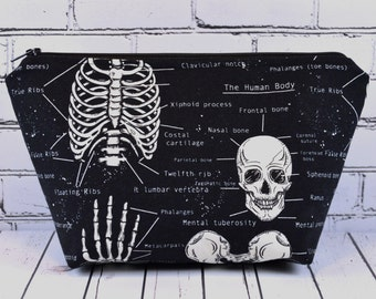 Glow in the Dark Skeleton Makeup Bag, Skull Bag
