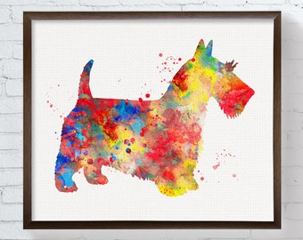 Watercolor Scottish Terrier, Scottish Terrier Art Print, Scottish Terrier Painting, Watercolor Dog, Watercolor Art, Scottish Terrier Poster