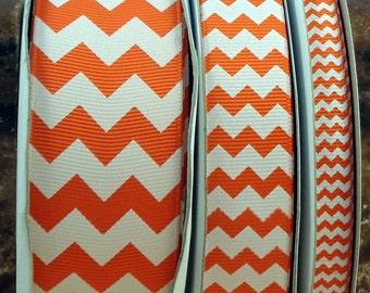 "2 Yards 3/8"", 7/8"" or 1.5"" Orange Chevron Print Grosgrain Ribbon - US Designer"