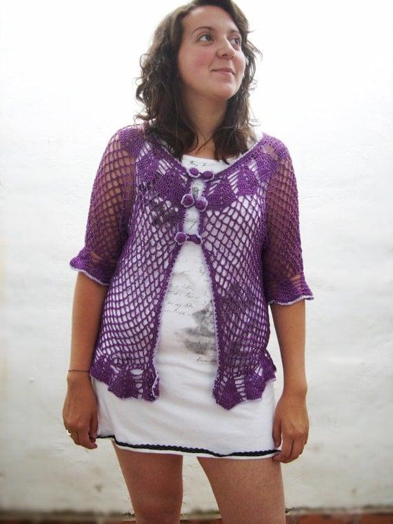 Saco tejido al crochet saco ganchillo bolero por TejidosCirculos