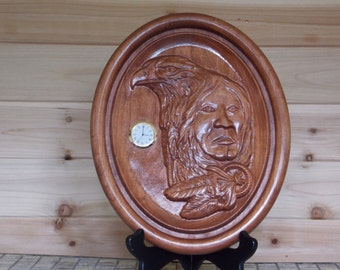 Wood Wall Clock ~ Shaman Native American ~ 3D Wood Carving