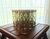 Vintage Culver Glassware. Tall Tumbler Drink Glasses. Pattern Valencia. Culver 22Kt Gold. Vintage Barware. Scotch Glasses. Table. Set of 6