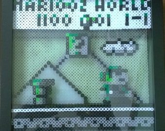 Marioland 1, glow in the dark, Perler bead, shadowbox