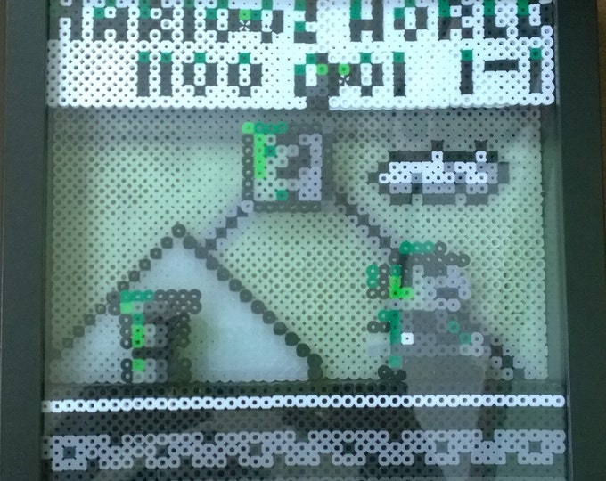 Marioland 1, glow in the dark, Perler bead, shadowbox