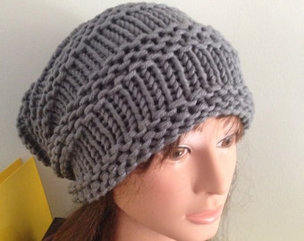 Chunky slouch hat in grey