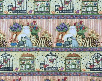 Cats and Bird Cages Fabric by SPX | cotton fabric by the yard | quilting fabric | sewing fabric | country fabric | home decor fabric