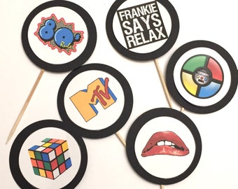 80's themed Cupcake toppers