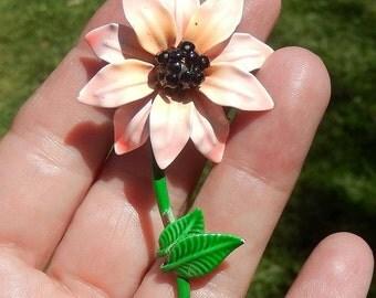Vintage Pink Enamel Flower Pin or Brooch