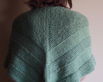 Knit Triangular Shawl, Green with Texture, Machine Washable and Dryable
