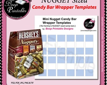 NUGGET Mini Candy bar Wraps - Gift or Party Favor TEMPLATE by Boop Printables