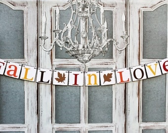 FALL WEDDING DECORATIONS - Rustic Fall in Love Banner - Autumn Wedding Signs