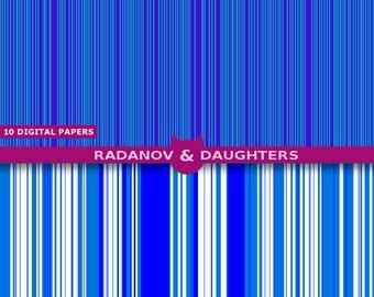 Blue Digital Paper, Stripes, Gift Wrap Paper, Instant Download