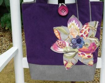 Purple Tote Handbag, Purple Purse, Large Tote Purse, Suede Handbag, Purple Handbag for Women, Suede Bag, Suede Tote Bag, Faux Leather Bag