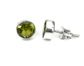 8mm Peridot Sterling Silver Stud Earrings in Bezel Setting - Bezel Peridot Silver Studs- Gemstone Peridot Post Earrings