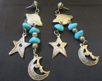 Vintage cosmic theme pierced earrings moon stars planet with stones