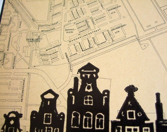 Amsterdam lino print, one-of-a-kind, canal houses hand-printed onto 1964 gemeente map, Tuindorp Oostzaan. Signed, unframed.