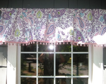 Rod Pocket Custom Valance in Pottery Barn Kids' Brooklyn Paisley color Lavender or Pink Fabric Girls' Trimmed in Cosmo Bubblegum Circle Bead
