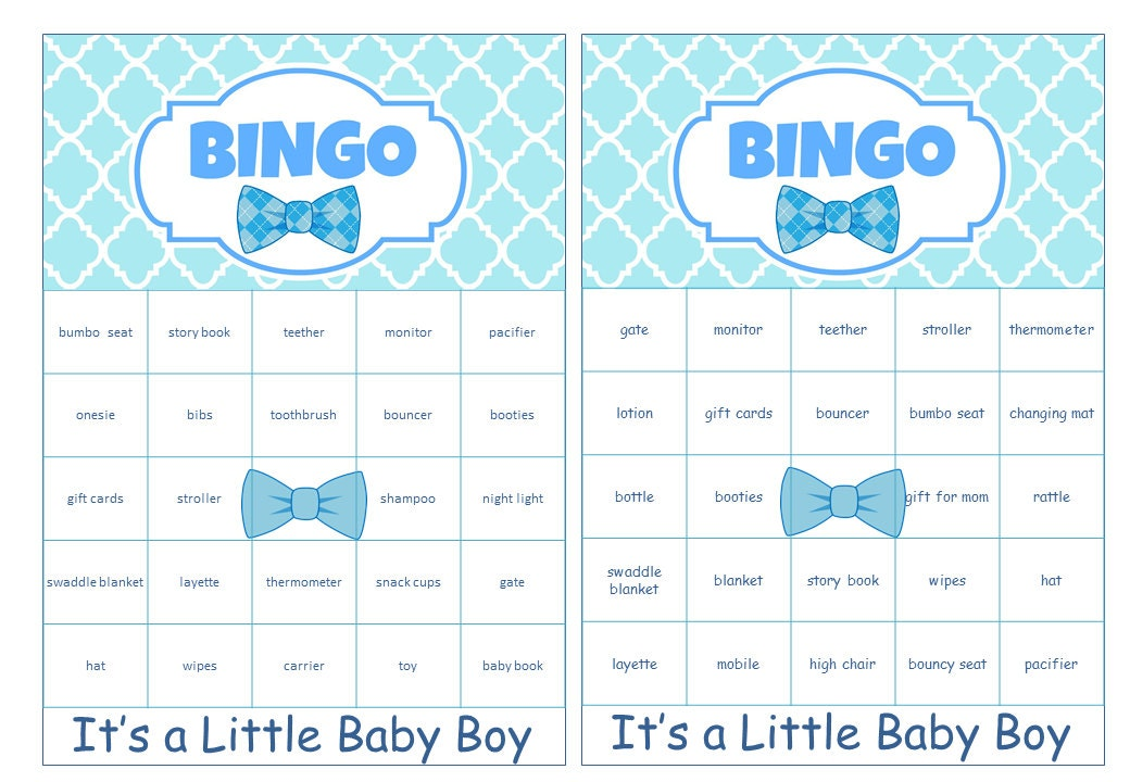 boy baby shower bingo cards prefilled with baby gift words